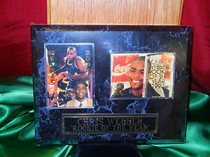 Details About Chris Webber Rookie Of The Year 1994 Sports Stars Usa 126 Plaque 2 Rookie Cards