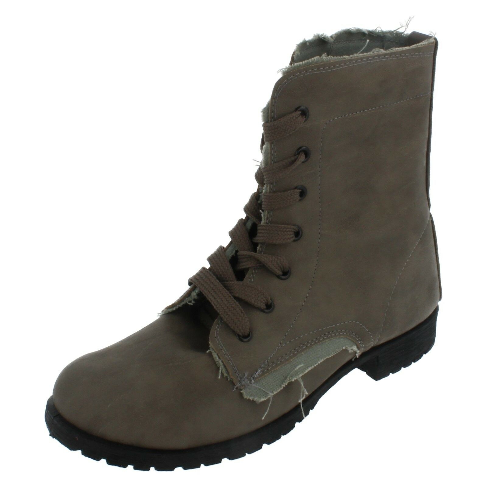 Ladies Spot on Grey synthetic lace up boots F5676