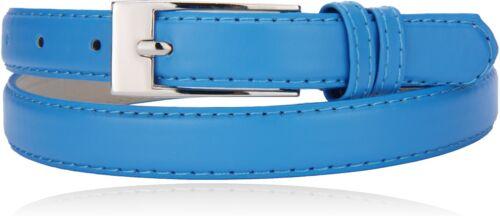 Waist Dress Belt 3//4 Wide Women's Solid Color Genuine Leather Skinny Hip