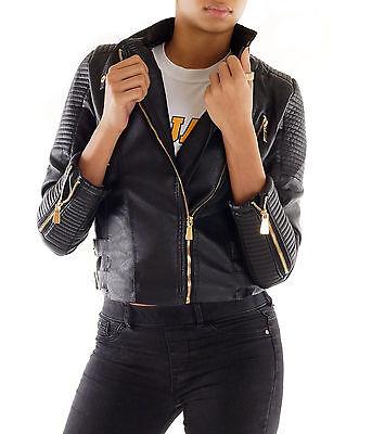 Sexy Damen Bikerjacke Kunst-Lederjacke schwarz black Jacket Neu XS S M L 215