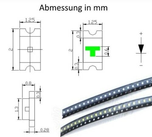 SMD LED 0805 rojo LEDs red S935-100 unid