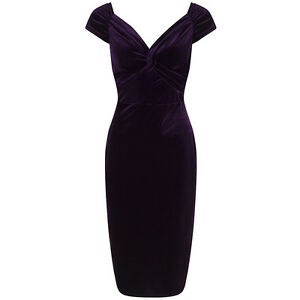 36d32f957 Image is loading Vintage-1940s-Purple-Velour-Crossover-Wiggle-Dress