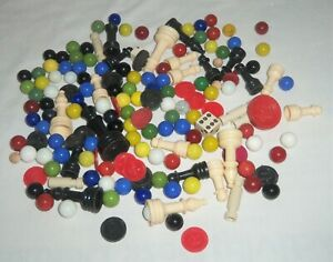 VTG-Junk-Drawer-Toy-Game-Pieces-Glass-Marbles-Chess-Chinese-Checkers-Dice