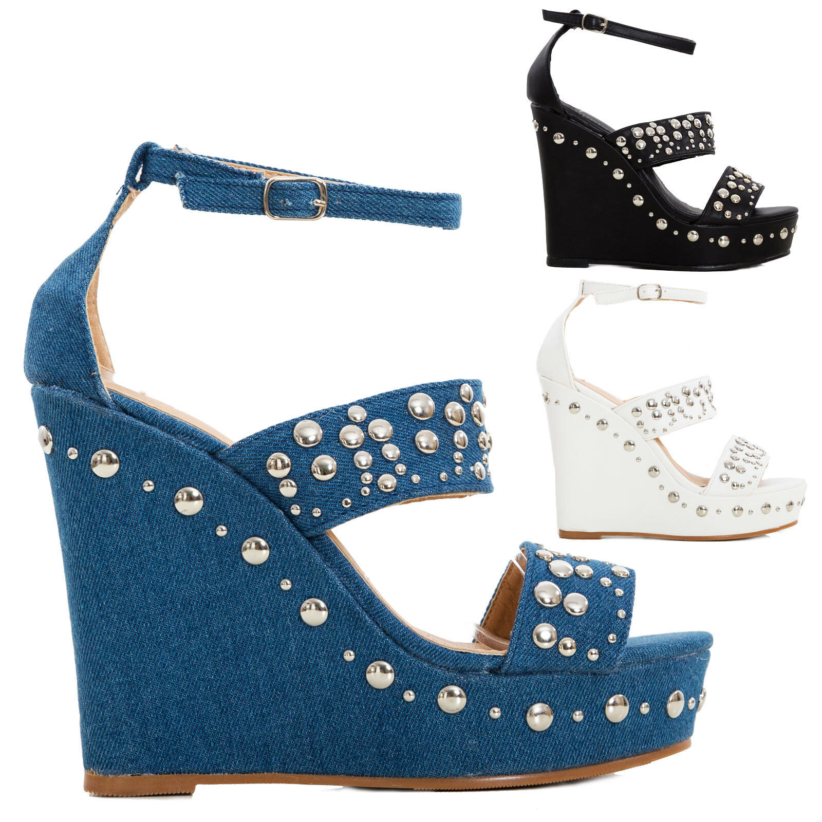 Women's shoes wedges big wedges studs sandals strap eco-leather high heel KM005