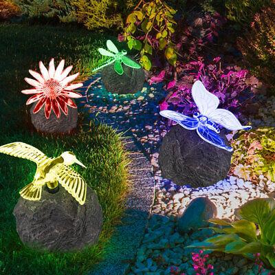 RGB LED Solar Deko Lampe Kolibri Terrassen Stein Beleuchtung Außen Living-XXL