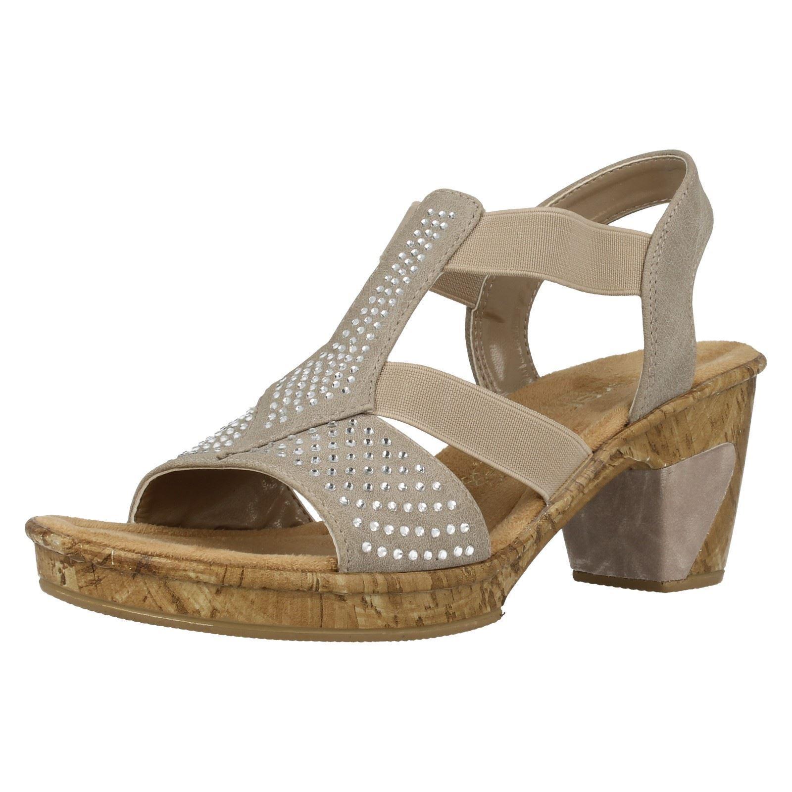 Ladies Rieker 69732 Beige Heeled Sandals With Diamante Detail