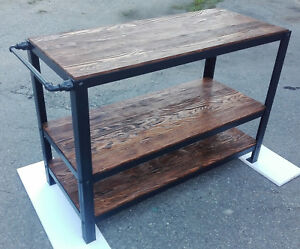 Details About Industrial Kitchen Island Wood Storage Shelf Cabinet Unit Home Furniture Table