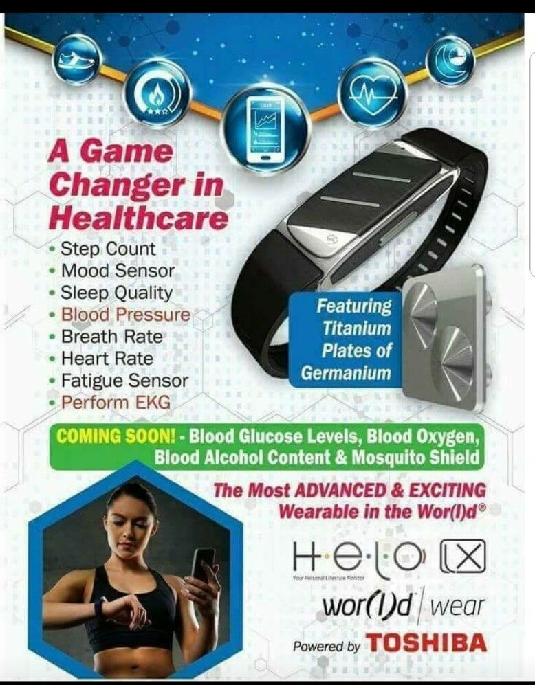 HELO LX Wrist Wrist Wrist Smartband Fitness Health Monitor Box Set with Germanium stones 03238f
