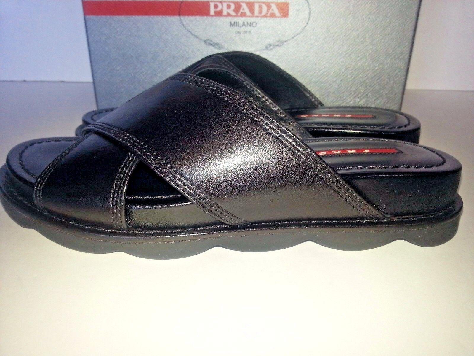 NEW Prada Linea Rossa Crisscross Leather Slide Flat Sandals Sandals Sandals Black 36.5 66add4