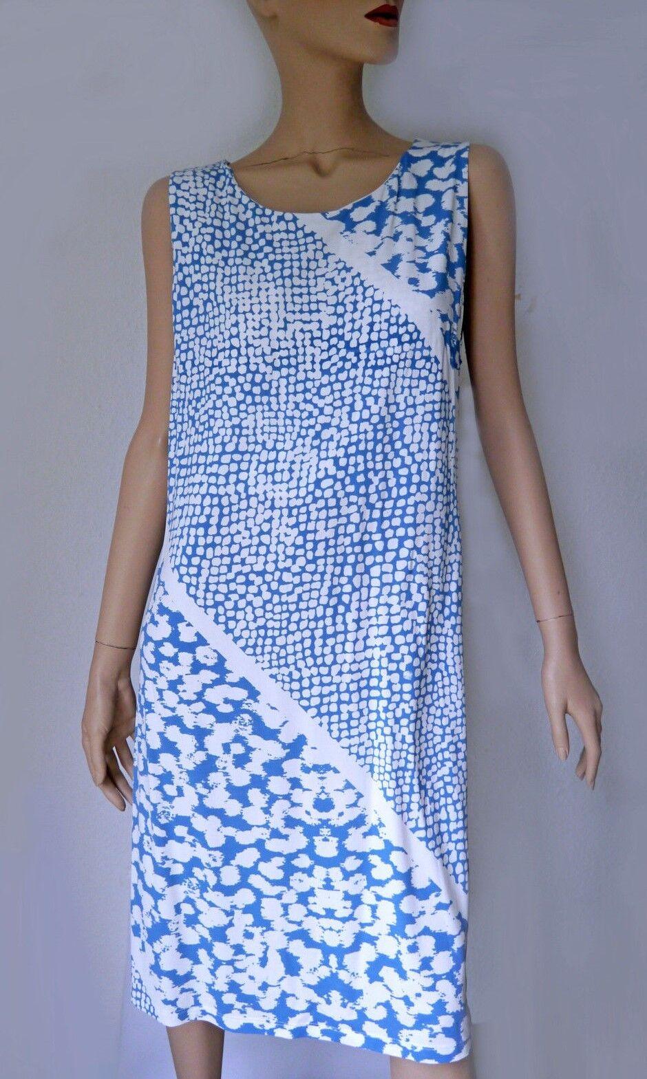 NICE CONNECTION Kleid 42 NEU Blau Weiss Viskose PE Elasthan