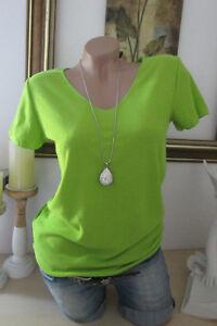 Basic-T-Shirt-Vintage-Tinta-Unita-collo-a-V-Verde-Fluorescente-Taglia-Unica-36