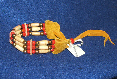 Bracelet Bone Hairpipe Brass & RED Glass beads on Leather Iroquois
