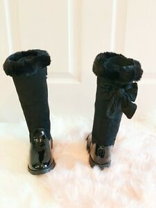 CHILDRENS-GIRLS-SCHOOL-MID-CALF-WINTER-BOOTS-KIDS-BLACK-FLAT-SOLE-SHOES-SIZE