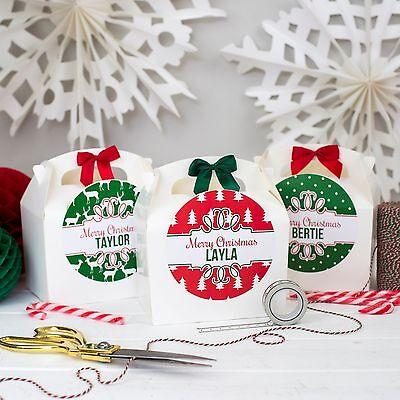 Collezione Qui Personalised Vigilia Di Natale Scatola Regalo | Rosso E Verde | Borsa Festa Tavola Favore-