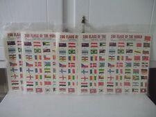 VINTAGE LOT OF 5 PACKS WORLD OF NATIONS FLAG STAMPS 200 PER PACK 1000 STAMPS NOS