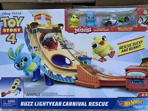Toy Story 4 Hot Wheels BUZZ LIGHTYEAR CARNIVAL RESCUE Playset NEW