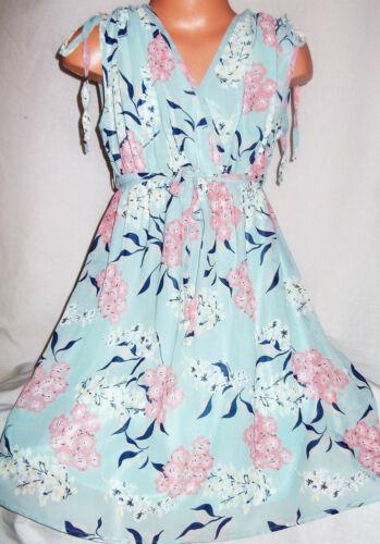 GIRLS VINTAGE STYLE MINT FLORAL BLOSSOM PRINT KIMONO CHIFFON PARTY DRESS