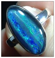 Opal Ring Sterling Silver Uk Size P, Real Opal Triplet, New, Actual One Shown.