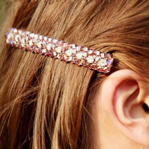 Women Girls Bling Crystal Rhinestone Hair Clip Slide Barrette Hairpins Headwear