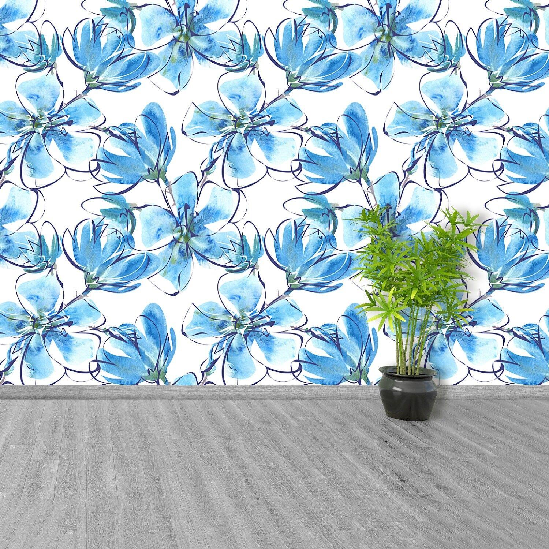 Fototapete Selbstklebend Einfach ablösbar Mehrfach klebbar Blaumenmuster