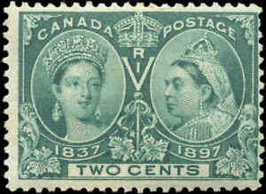 1897-Mint-H-Canada-F-Scott-52-2c-Diamond-Jubilee-Issue-Stamp