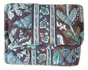 Vera-Bradley-Java-Blue-Tri-fold-Pocket-Wallet-Coins-Cards