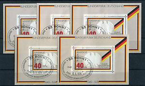 5-x-Bund-Block-Nr-10-gestempelt-ESST-BRD-25-Jahre-Bundesrepublik-Ersttagsstempel