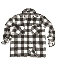 Camisa-De-Lenador-negro-blanco-camping-exterior-MILITAR-nuevo