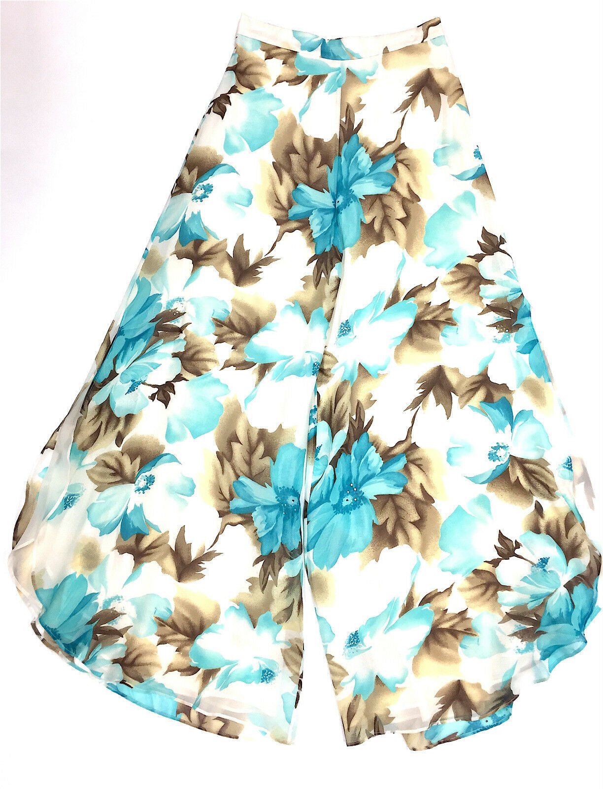 ST. JOHN EVENING White Turquoise Sequined Floral Print Silk Palazzo Pants Sz2