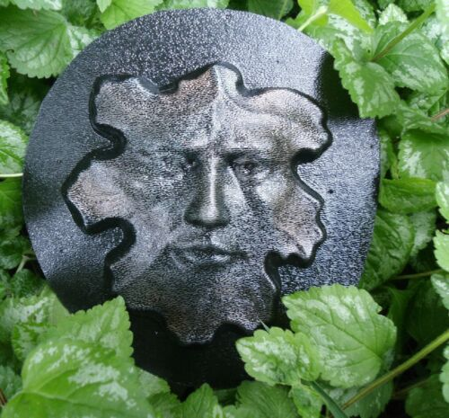 Cement plaster clay small leaf face plastic mold see larger one too!