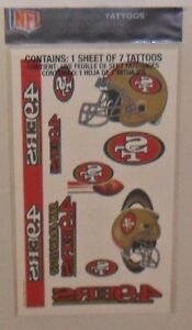 NFL-SAN-FRANCISCO-49ERS-SHEET-OF-7-TEMPORARY-TATTOOS-FAST-FREE-SHIPPING