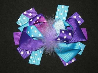 """NEW /""""LIME BLUE GIRAFFE/"""" Fur Hairbow Alligator Clips Girls Ribbon Bows 5.5 Inches"""