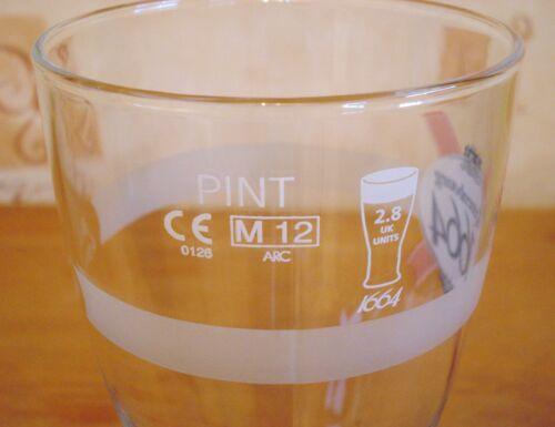 Kronenbourg 1664 Lager Beer Pint Glass Embossed Pub Home Bar Unused M12