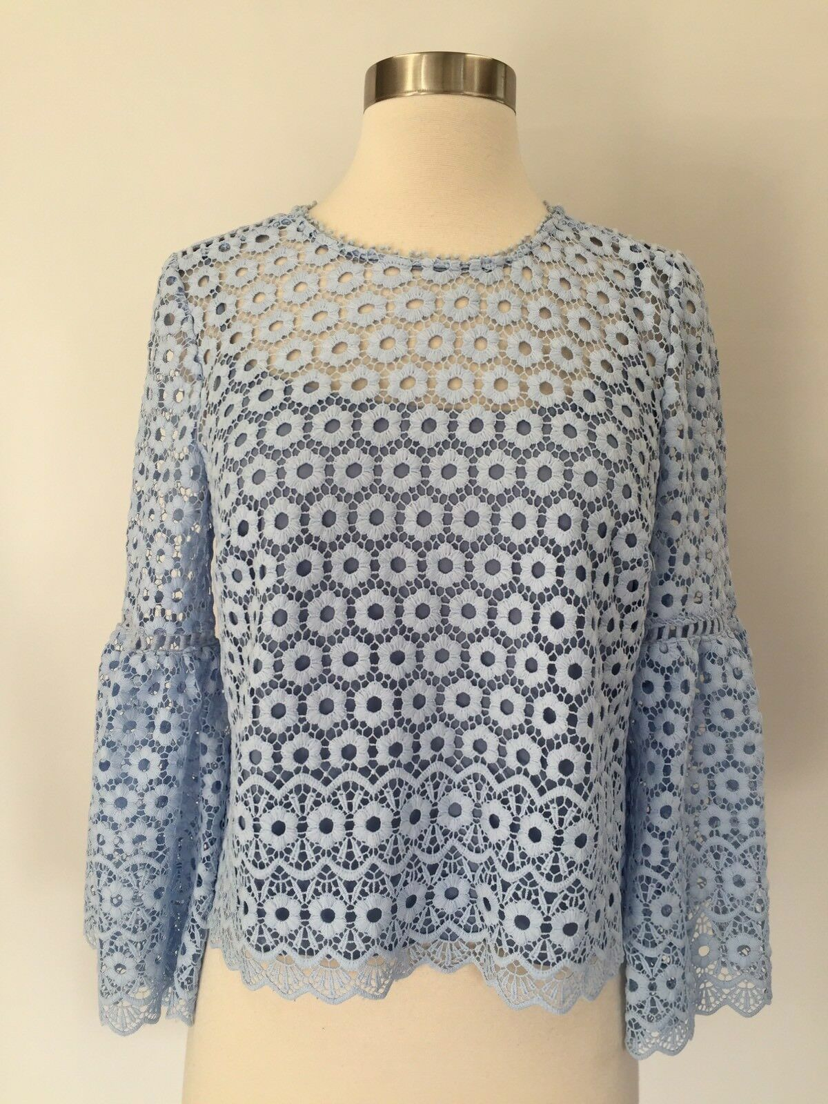 aa32d29ae New J.Crew Daisylace Bell-sleeve Top Blouse Faded Peri Blau Größe