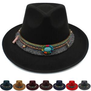 1f20d388f8ce9 Men Women Felt Wide Brim Panama Hat Sombrero Cap Sunhat Fedora ...