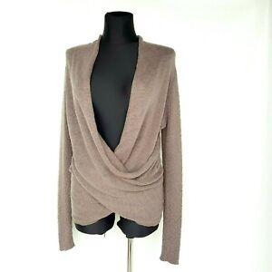 Noa-Noa-Womens-Jumper-sz-XL-Grey-Ecru-Draped-V-Neck-Long-Sleeve-100-Cotton