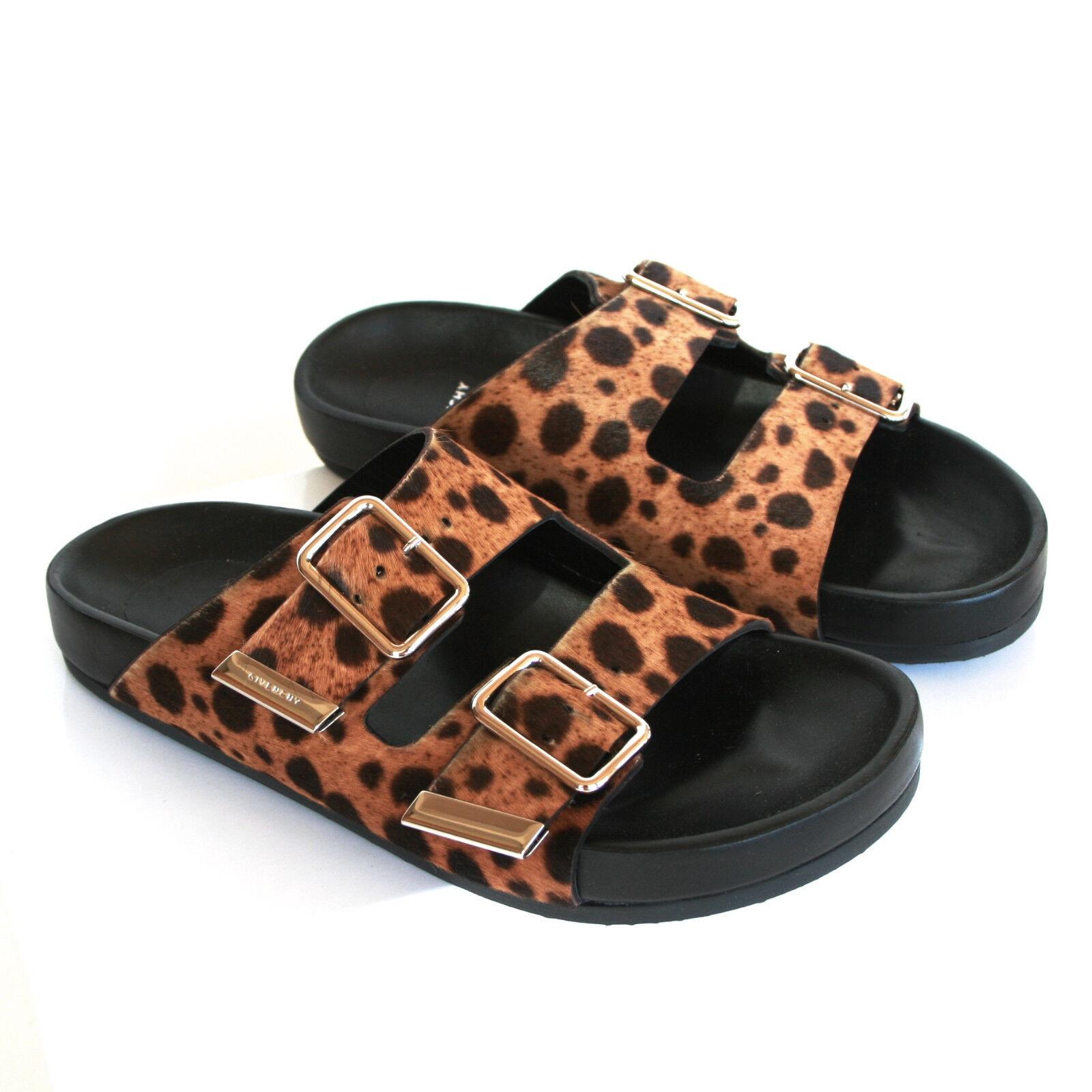 GIVENCHY  1,020 calf hair fur swiss leopard print Scarpe buckle sandals 35 NEW