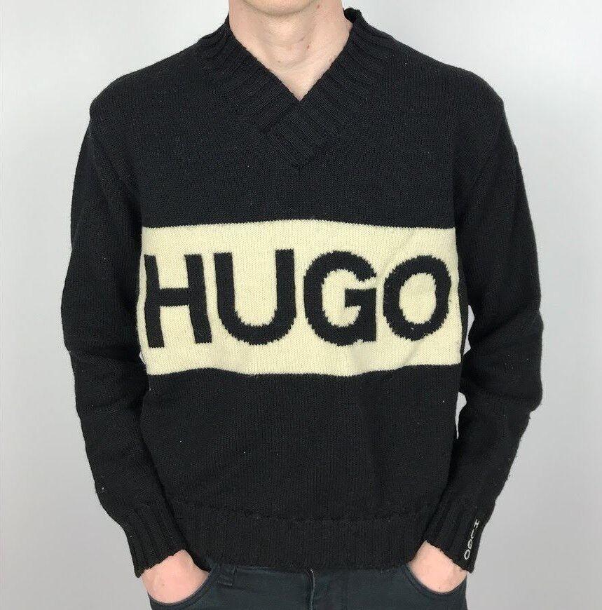VINTAGE Hugo BOSS Maglione   Classic 90s di marca   Small S nero
