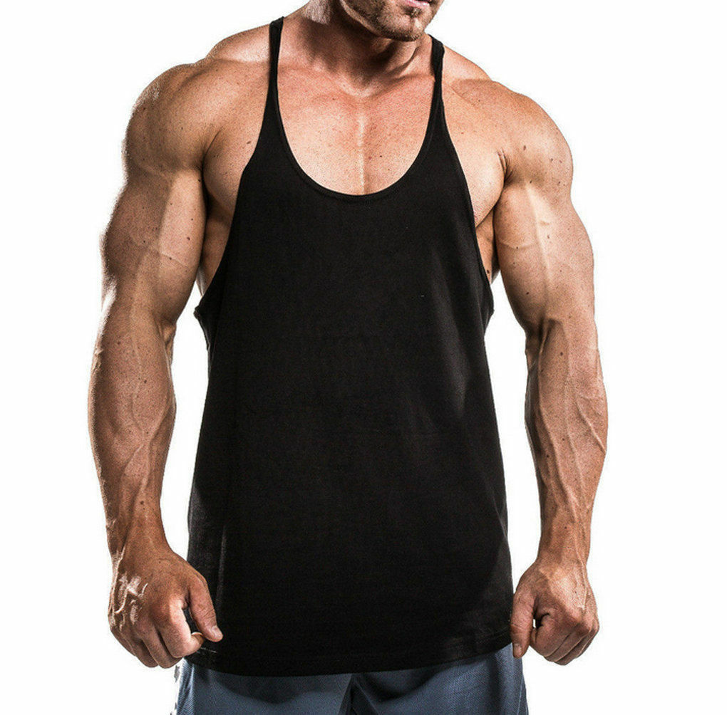 Mens Gym Vest Sports Stringer Tank Top Relaxed T Shirt