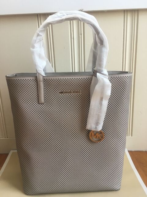 62b5b15336fa Michael Kors Hayley Large N/s Cement Perforated Leather Zip Tote ...