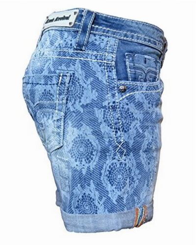 ROCK REVIVAL Women/'s Lydia Easy Printed Distressed Cuffed Denim Casual Shorts