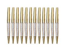 12 pcs/Lot New Luxury Bling Metal Shine Gold Diamond Crystal Pen Ballpoint pens