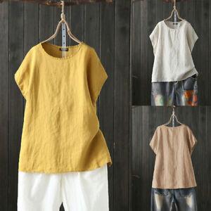 UK-Womens-Ladies-Linen-Summer-Baggy-Tops-T-Shirt-Casual-Short-Sleeve-Blouse-Tee
