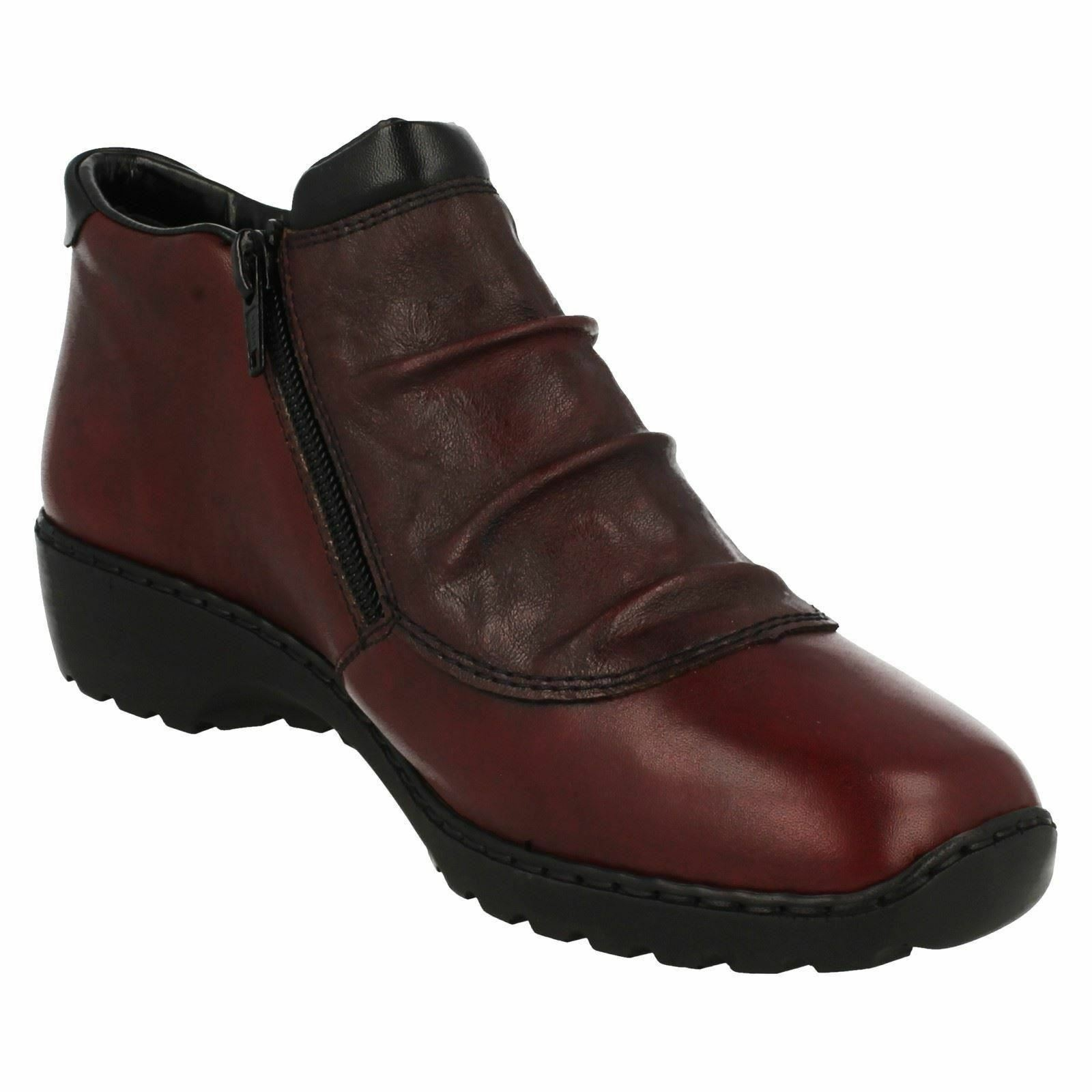 RIEKER LADIES FLAT LEATHER WINTER CASUAL EVERYDAY WEAR ANKLE BOOTS L6052