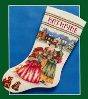 Victorian Carolers - Vintage Bernat Cross Stitch Christmas Stocking Kit