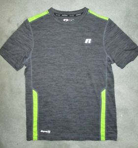 026f55cd4 Boys RUSSELL Dri-Power 360 Shirt, SS Heather Gray Lime Green Accents ...