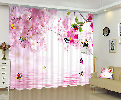 Blockout Drapes Fabric Red Flowers Butterfly 3D Printing Window Curtains Mural