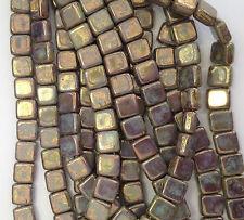25 x 6mm BRONZE PICASSO OPAQUE PALE JADE CzechMates Tile Beads Jewellery 2 Hole