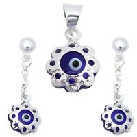 Blue Evil Eye .925 Sterling Silver Earring & Pendant Set on sale