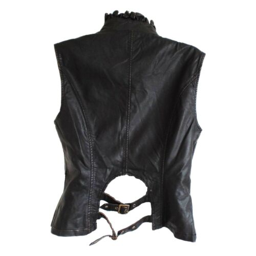 Women/'s Steampunk Waistcoat in Brown Faux Leather with Military Braiding